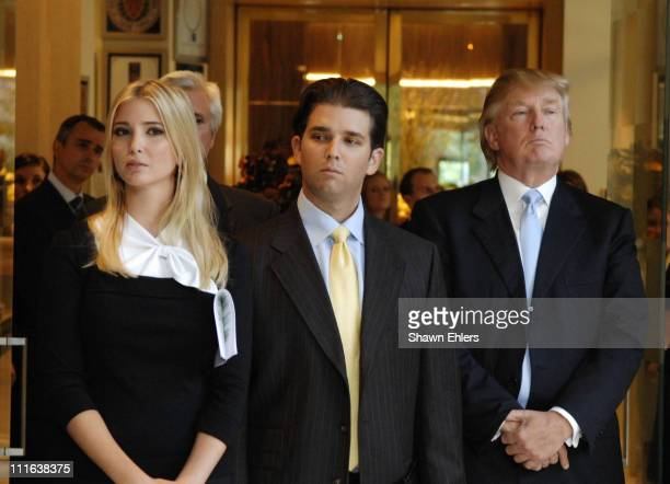 Ivanka Trump and Donald Trump Jr and Donald Trump at Donald Trump Ivanka Trump Donald Trump Jrand Eric Trump Launch the N on October 10 2007 at Jean...