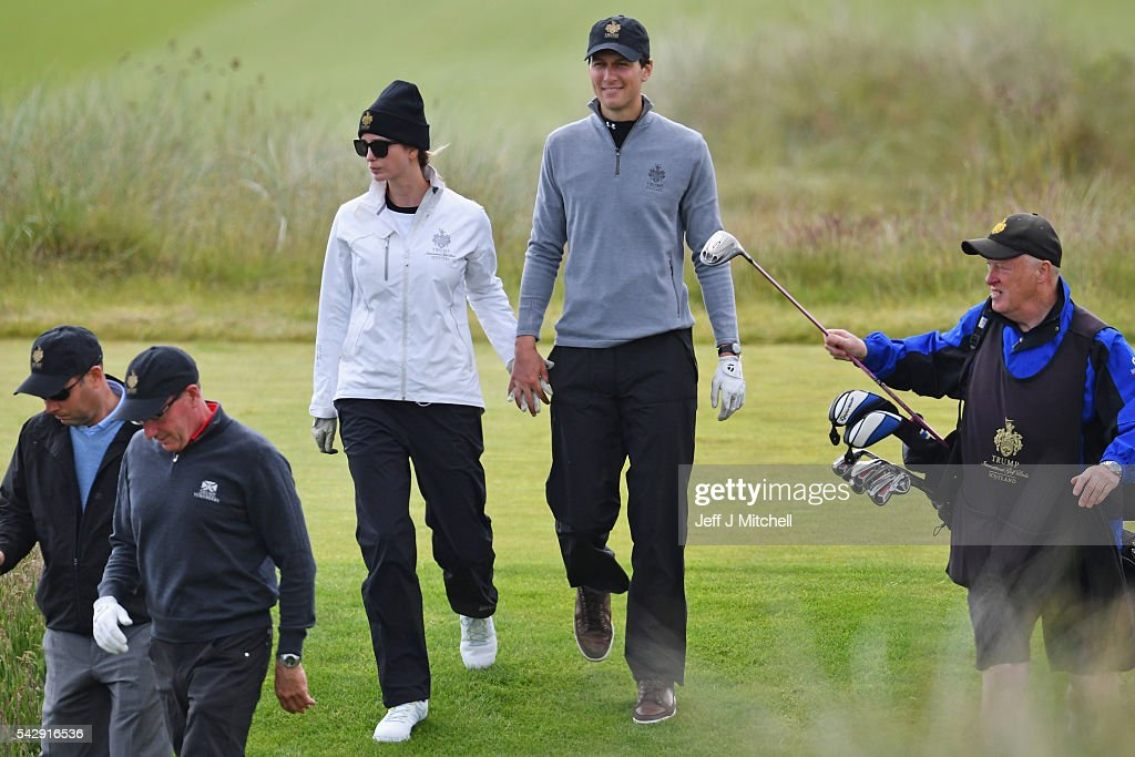 Ivanka Trump and her husband Jared Kushner play golf at Trump International Golf Links on June 25, 2016 in Aberdeen, Scotland. The US presidential hopeful was in Scotland for the reopening of the refurbished Open venue golf resort Trump Turnberry which has undergone an eight month refurbishment as part of an investment thought to be worth in the region of two hundred million pounds.