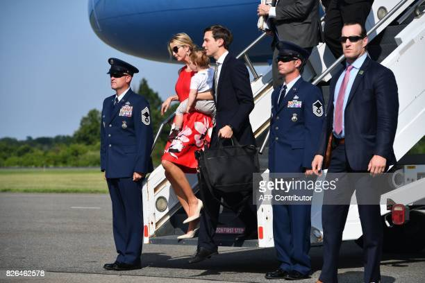 Ivanka Trump and her husband White House Senior Adviser Jared Kushner arrive in Morristown New Jersey on August 4 2017 US President Donald Trump will...