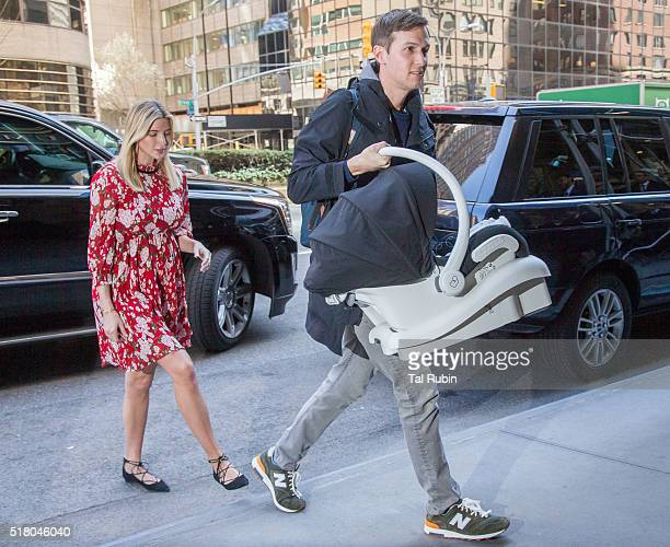 Ivanka Trump and Jared Kushner are seen arriving home from the hospital with their newborn on March 29 2016 in New York City