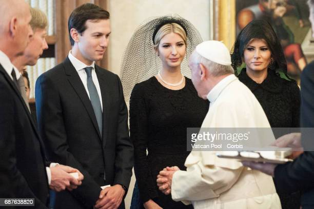 Ivanka Trump and Jared Kushner attend a meeting between the President of United States of America Donald Trump Wife Melania Trump and Pope Francis on...