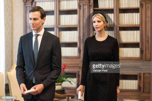 Ivanka Trump and Jared Kushner attend an audience with Pope Francis at the Apostolic Palace on May 24 2017 in Vatican City Vatican The President...