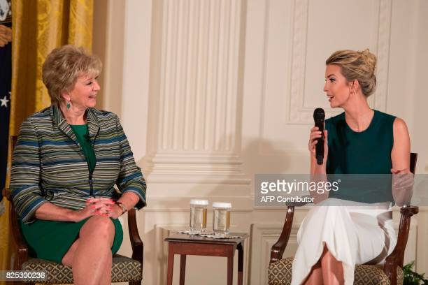 Ivanka Trump and SBA Administrator Linda McMahon speak during an event with small businesses at the White House in Washington DC on August 1 2017 /...