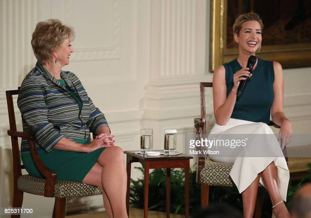 Ivanka Trump and US Small Business Administrator Linda McMahon participate in a small business event in the East Room of the White House on August 1...