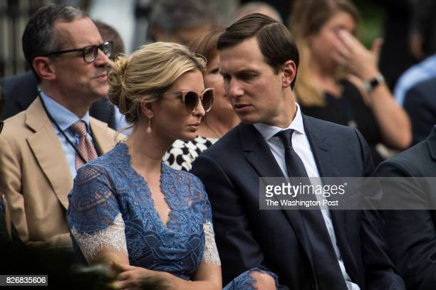 Ivanka Trump and White House senior adviser Jared Kushner talk before a joint news conference with President Donald Trump and Lebanese Prime Minister...