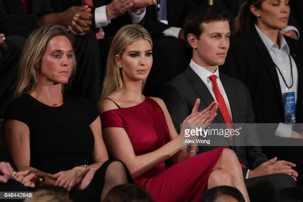 Ivanka Trump and White House Senior Advisor to the President for Strategic Planning Jared Kushner look on as US President Donald Trump addresses a...