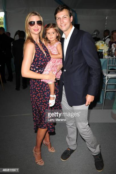 Ivanka Trump Arabella Rose Kushner and Jared Kushner attend the 2014 Trump Invitational Grand Prix at The MaraLago Club on January 5 2014 in Palm...