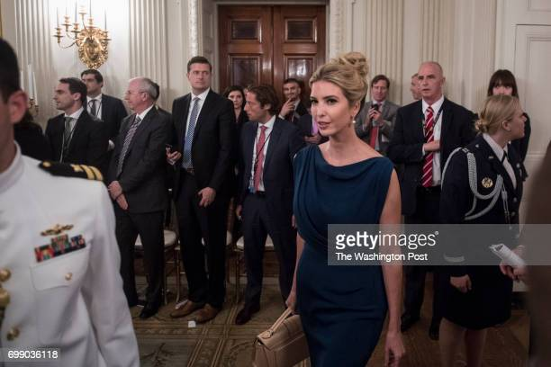 Ivanka Trump arrives during an American Technology Council roundtable in the State Dinning Room at the White House in Washington DC on Monday June 19...