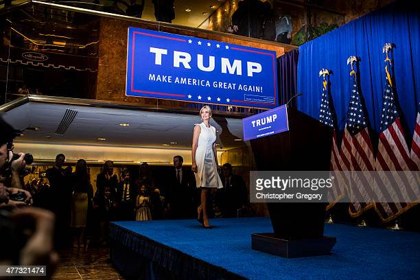 Ivanka Trump arrives to a press event where her father business mogul Donald Trump announced his candidacy for the US presidency at Trump Tower on...