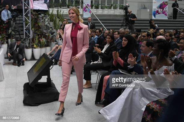 Ivanka Trump arrives to speak during a session named 'Taking womenowned businesses to the next level' as part of the World Bank and International...