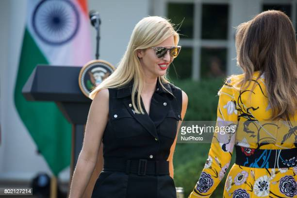 Ivanka Trump Assistant to and daughter of President Trump speaks to First Lady Melania Trump before President Donald Trump and Prime Minister...