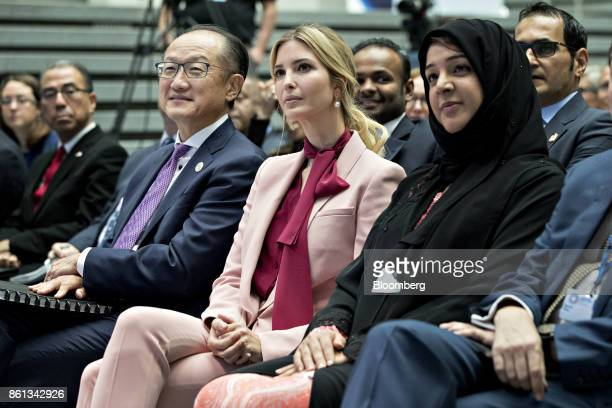 Ivanka Trump assistant to US President Donald Trump center and Jim Yong Kim president of the World Bank Group left wait to speak on a panel...