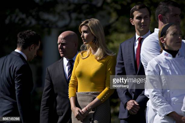 Ivanka Trump assistant to US President Donald Trump center Jared Kushner senior White House adviser center right and HR McMaster national security...