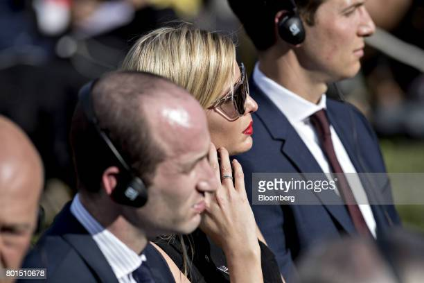 Ivanka Trump assistant to US President Donald Trump center listens during a joint statement with Trump and Indian Prime Minister Narendra Modi not...