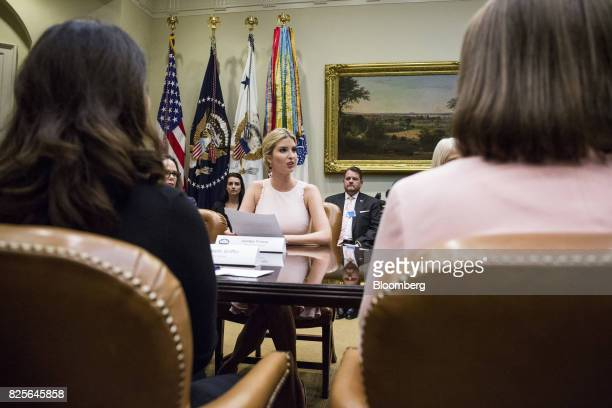 Ivanka Trump assistant to US President Donald Trump center speaks during a meeting with military spouses in the Roosevelt Room of the White House in...