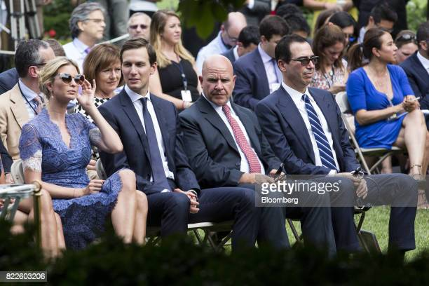 Ivanka Trump assistant to US President Donald Trump from left Jared Kushner senior White House adviser HR McMaster national security advisor and...