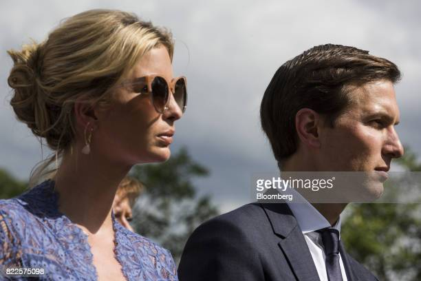 Ivanka Trump assistant to US President Donald Trump left and Jared Kushner senior White House adviser listen during a joint press conference with...