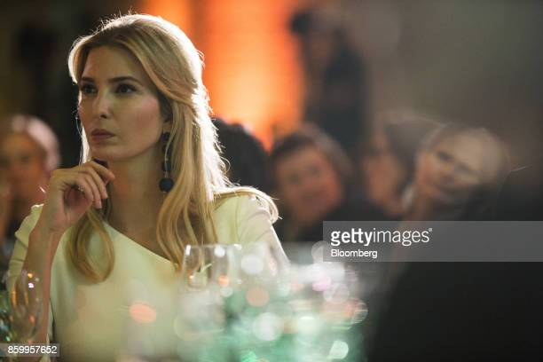 Ivanka Trump assistant to US President Donald Trump listens as Justin Trudeau Canada's Prime Minister not pictured speaks during an interview at the...