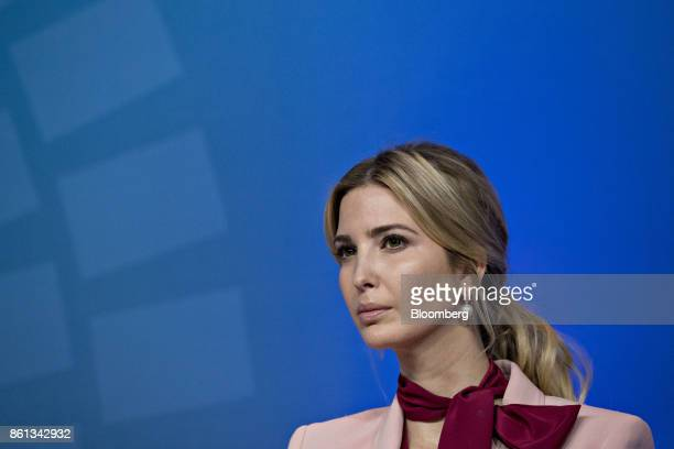 Ivanka Trump assistant to US President Donald Trump listens during a panel discussion at the International Monetary Fund and World Bank Group Annual...