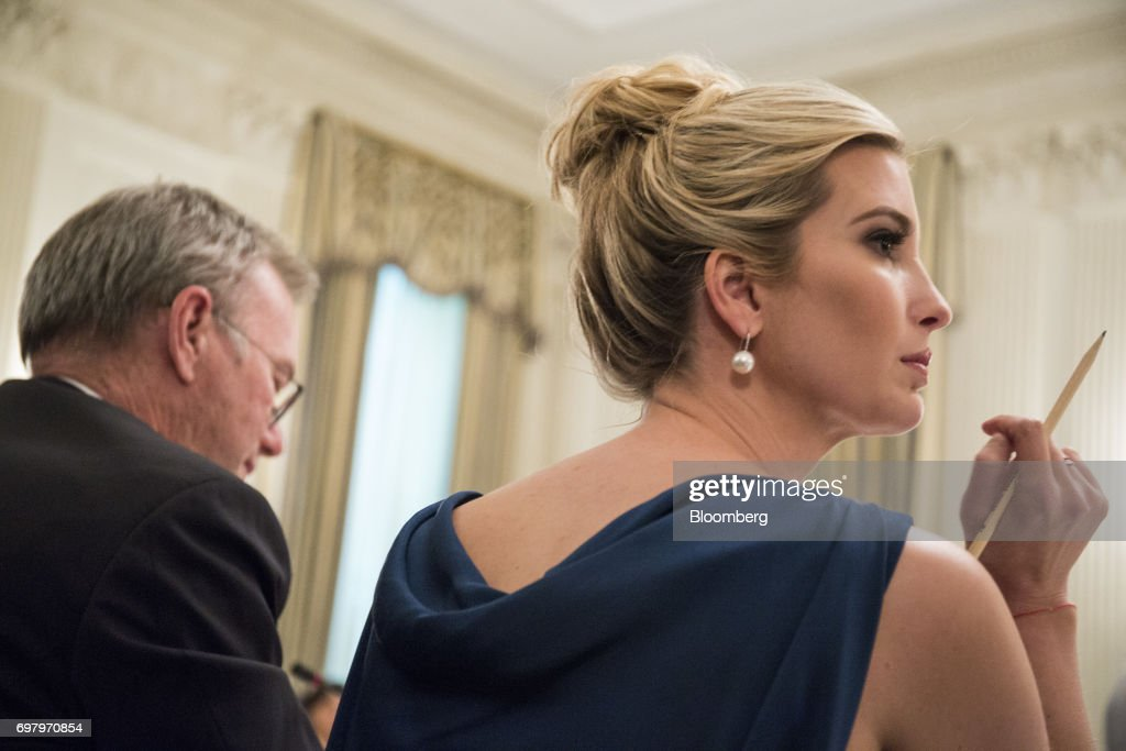Ivanka Trump, assistant to U.S. President Donald Trump, listens to remarks during the American Technology Council roundtable hosted at the White House in Washington, D.C., U.S., on Monday, June 19, 2017. Executives from many of the world's largest technology companies gathered for the first meeting of the American Technology Council with Trump and his senior advisers. Photographer: Zach Gibson/Bloomberg via Getty Images