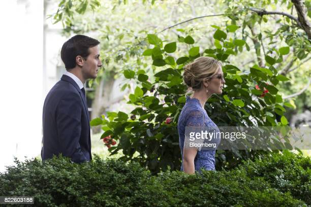 Ivanka Trump assistant to US President Donald Trump right and Jared Kushner senior White House adviser arrive for a joint press conference with Trump...