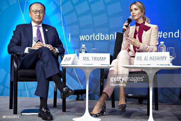 Ivanka Trump assistant to US President Donald Trump right speaks as Jim Yong Kim president of the World Bank Group listens during a panel discussion...