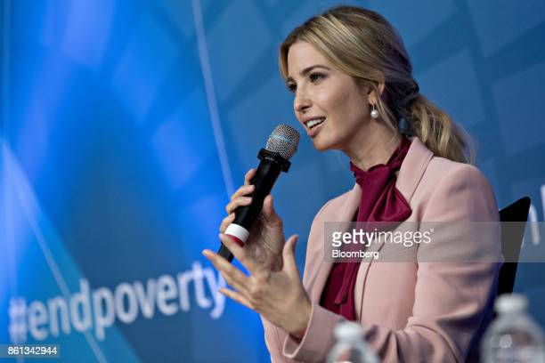 Ivanka Trump assistant to US President Donald Trump speaks during a panel discussion at the International Monetary Fund and World Bank Group Annual...