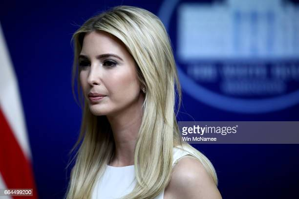 Ivanka Trump attends an event at the Eisenhower Executive Office Building April 4 2017 in Washington DC US President Donald Trump also delivered...