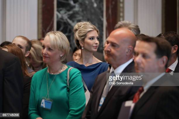 Ivanka Trump attends the inaugural meeting of the American Technology Council with technology executives and leaders in the Indian Treaty Room at the...