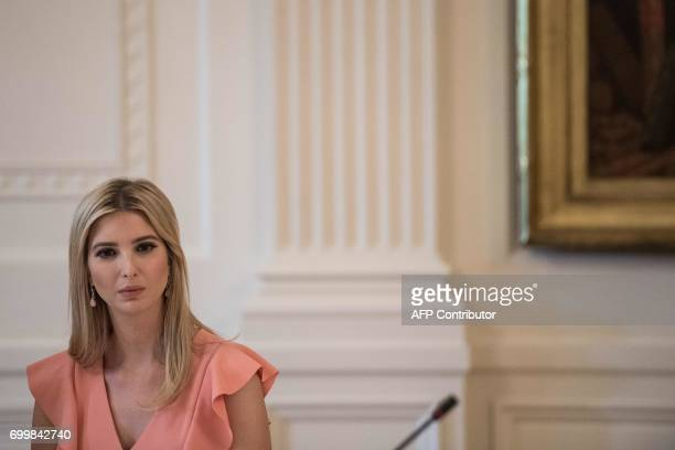 Ivanka Trump daughter and adviser of US President Donald Trump attends an American Leadership in Emerging Technology roundtable in the East Room of...