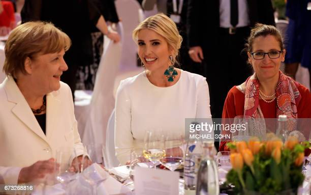 Ivanka Trump daughter and adviser of US President Donald Trump and German Chancellor Angela Merkel attend a dinner after they participated in the W20...