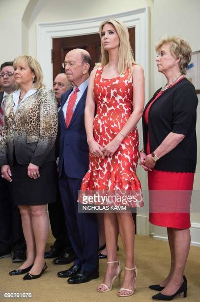 Ivanka Trump daughter and adviser of US President Donald Trump listens to her father speak during the launch of the Apprenticeship and Workforce of...