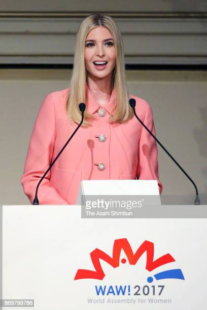 Ivanka Trump daughter and advisor of the US president Donald Trump addresses during the World Assembly for Women conference on November 3 2017 in...