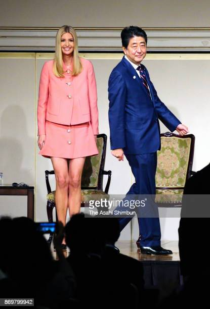 Ivanka Trump daughter and advisor of the US president Donald Trump and Japanese Prime Minister Shinzo Abe attend the World Assembly for Women...