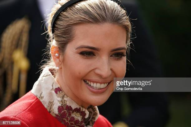 Ivanka Trump daughter and advisor to US President Donald Trump attends the ceremony to pardon the National Thanksgiving Turkey in the Rose Garden at...