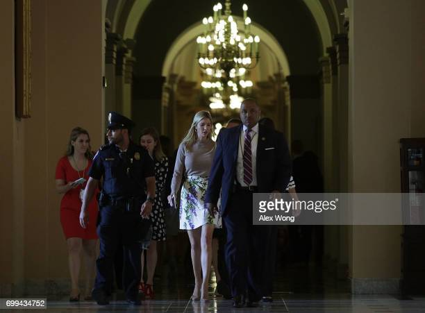 Ivanka Trump daughter and assistant to President Donald Trump leaves after a meeting at the Capitol June 21 2017 in Washington DC Ivanka Trump was on...