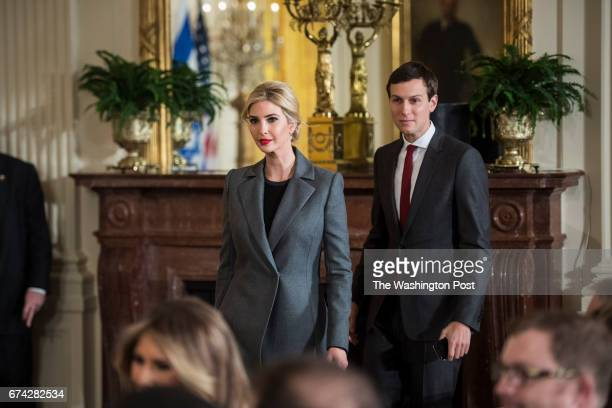 Ivanka Trump daughter of President Donald Trump and her husband senior adviser Jared Kushner arrive before a press conference in the East Room of the...