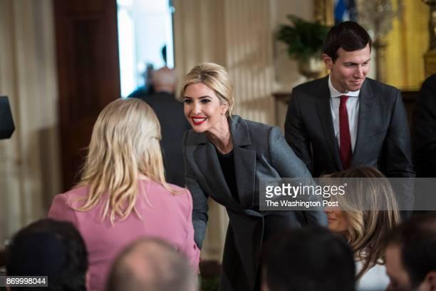 Ivanka Trump daughter of President Donald Trump shakes the hand of Sara Netanyahu wife of Israeli Prime Minister Benjamin Netanyahu before a press...