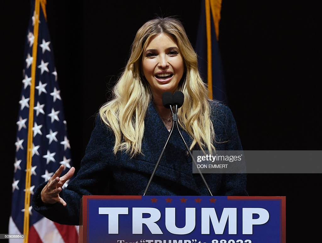 Ivanka Trump, daughter of Republican presidential hopeful Donald Trump, speaks to the crowd during a rally February 8, 2016 in Manchester, NH. US presidential candidates, including billionaire Donald Trump and under-pressure Democrat Hillary Clinton, criss-crossed snowy New Hampshire in a final frantic bit to win over undecided voters before Tuesday's crucial primary. / AFP / Don EMMERT