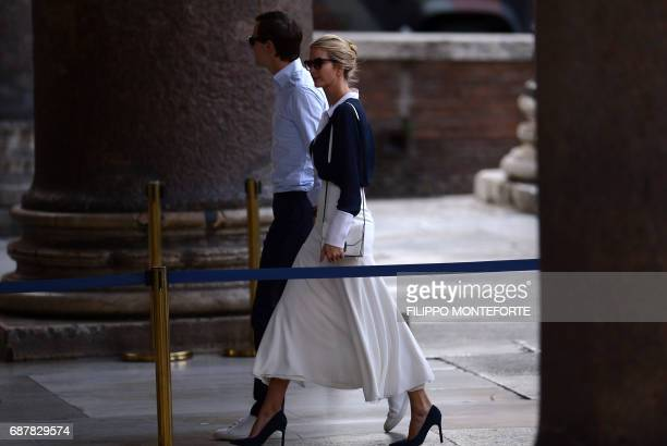 Ivanka Trump daughter of the US president and her husband Jared Kushner senior adviser to the president arrive to visit the Pantheon in central Rome...
