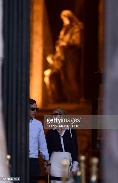 Ivanka Trump daughter of the US president and her husband Jared Kushner senior adviser to the president visit the Pantheon in central Rome on May 24...