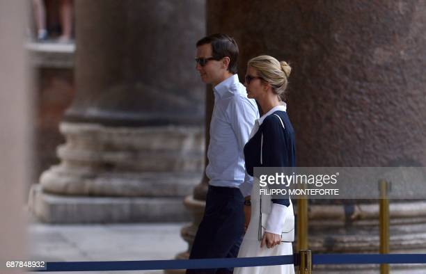 Ivanka Trump daughter of US President Donald Trump and her husband Jared Kushner senior adviser to Trump arrive to pay a visit to the Pantheon in...