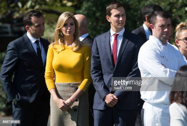 Ivanka Trump daughter of US President Donald Trump and her husband Senior White House Adviser Jared Kushner arrive for a moment of silence on the...