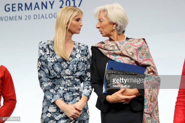 Ivanka Trump daughter of US President Donald Trump and International Monetary Fund Managing Director Christine Lagarde talk at the W20 conference on...