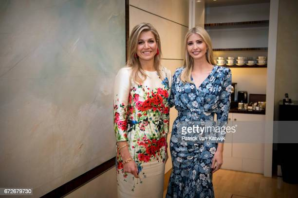 Ivanka Trump daughter of US President Donald Trump and Queen Maxima of The Netherlands attend the W20 conference on April 25 2017 in Berlin Germany...