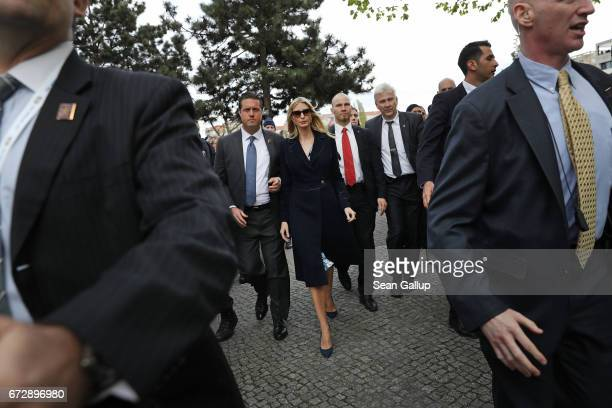 Ivanka Trump daughter of US President Donald Trump departs after visiting the Memorial to the Murdered Jews of Europe also called the Holocaust...