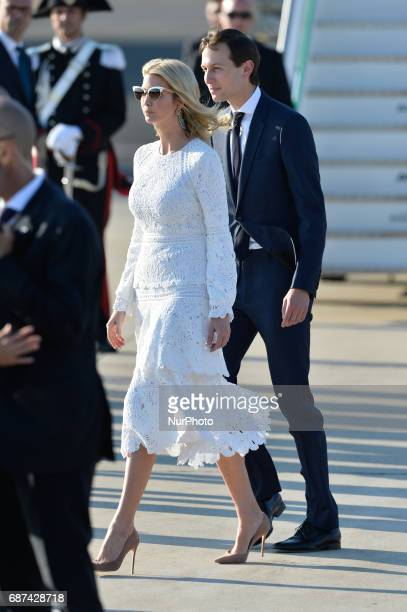 Ivanka Trump daughter of US President Donald Trump her husband Jared Kushner senior adviser to Trump arrive at Rome's Fiumicino Airport on May 23...