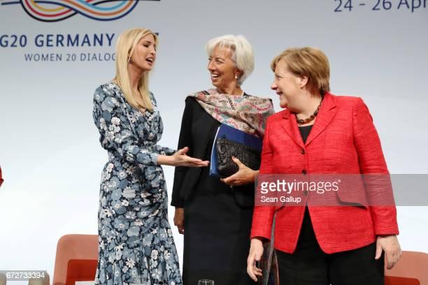 Ivanka Trump daughter of US President Donald Trump International Monetary Fund Managing Director Christine Lagarde and German Chancellor Angela...