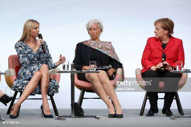 Ivanka Trump daughter of US President Donald Trump International Monetary Fund Managing Director Christine Lagarde and German Chancellor Angela...