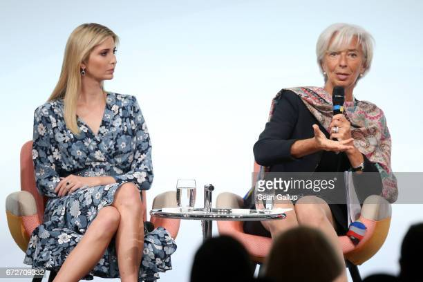 Ivanka Trump daughter of US President Donald Trump listens to International Monetary Fund Managing Director Christine Lagarde at the W20 conference...